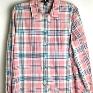 Women's XL LRL Lauren Pink Plaid Button Down Shirt